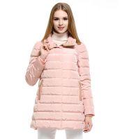 ダウンコート スタンドカラー襟元ファー飾りAラインポケット付き無地ゆったり大きいサイズあり-os9830