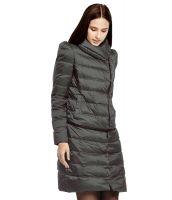 ダウンコート 取り外し裾付き2WAYスタンドカラー無地ジップアップストレート-os9967