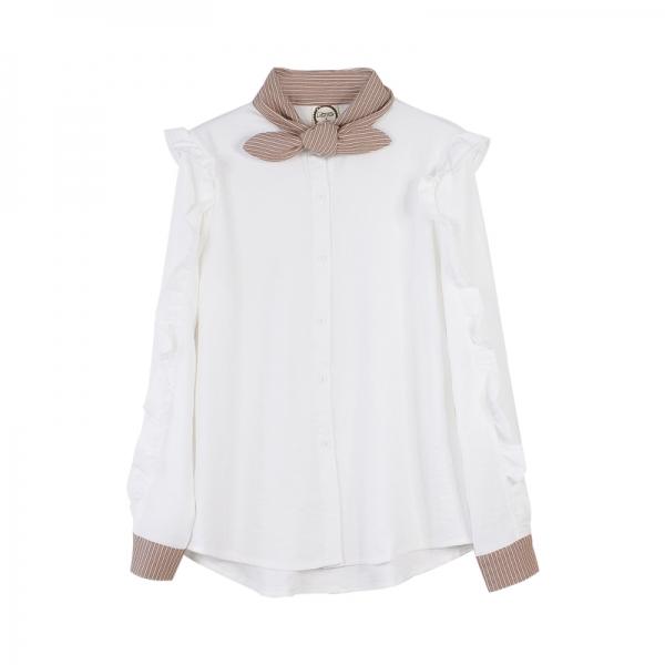 ガーベラレディース カジュアル ぺプラム裾 シャツ 長袖 pk3173-1