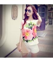 ガーベラレディース Tシャツ カットソー 半袖 花柄 ゆったり 夏物 pk3855-1
