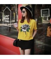 【Tシャツ】カットソー【半袖】花柄【黄色い】イエロー【夏物】 pk4021-1