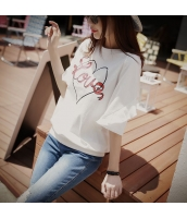 【Tシャツ】カットソー【半袖】文字入り【白】ホワイト【夏物】 pk4022-1