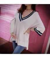 【ニットウェア】セーター【五分袖】ゆったり【薄手】白【ホワイト】夏物 pk4024-1