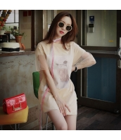 【Tシャツ】カットソー【半袖】オーガンザ切替【ベージュ】夏物 pk4030-1