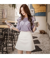 【ニットウェア】セーター【五分袖】薄手【夏物】紫【パープル】 pk4043-1