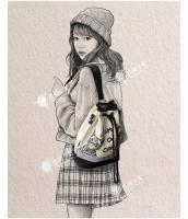 バケットバッグ 巾着バッグ レディースバッグ バックパック リュックサック ショルダーバッグ 2wayバッグ 二匹の猫 トレンディ キャンバス 帆布 qa10224-1