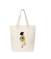 ショッピングバッグ レディースバッグ トートバッグ ハンドバッグ 男女兼用バッグ エコバッグ 学園風 清楚 キャンバス 帆布 文芸調 qa10435-13