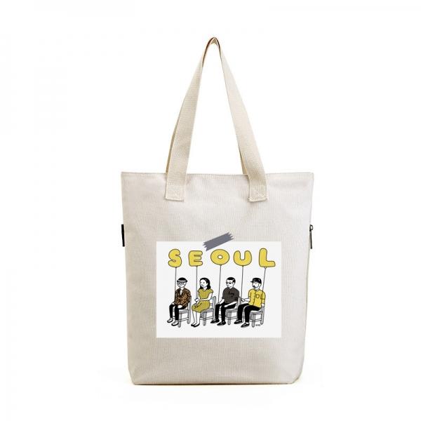ショッピングバッグ レディースバッグ トートバッグ ハンドバッグ 男女兼用バッグ エコバッグ 学園風 清楚 キャンバス 帆布 文芸調 qa10435-29