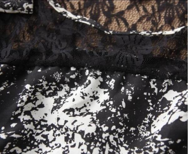 ミニワンピース 刺繍レース切替ホロー ベルト付き-qc1482-2