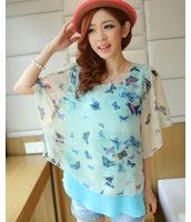シャツ ブラウス 半袖 花プリント入り袖フレア ゆったり大きいサイズあり-qc1522