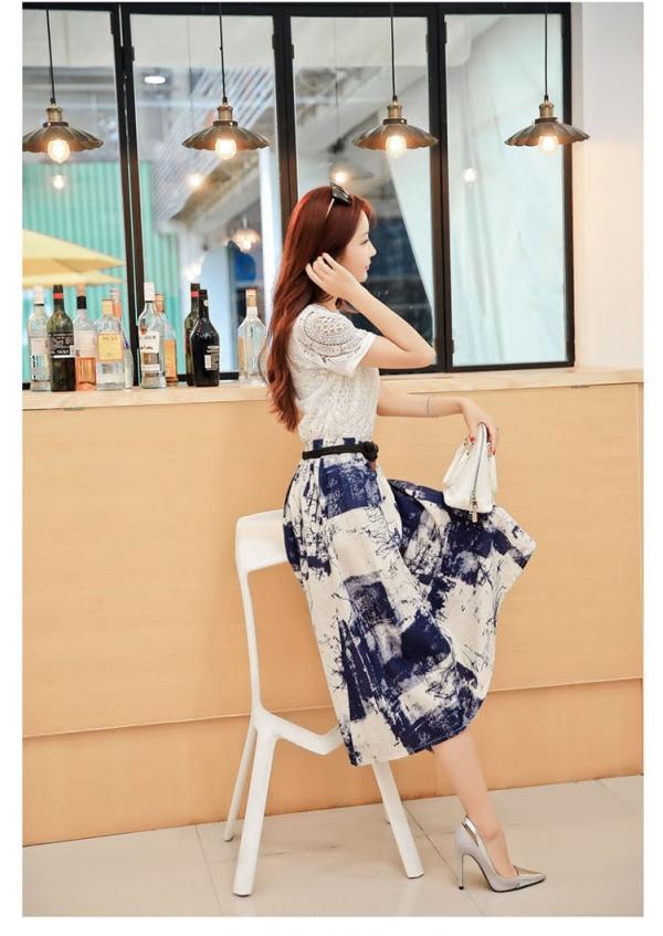 花刺繍ホロー水墨プリント上下2点セット アンサンブル レディース ファッション 通販 販売qc5018
