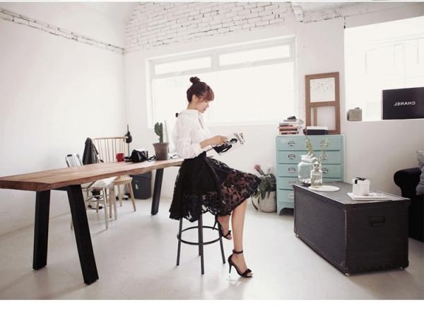 後ろリボン飾りウエストゴム入り花刺繍Aライン上下2点セット アンサンブル レディース ファッション 通販 販売qc5137