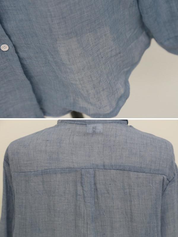 スタンドカラー胸元ポケット シャツ 無地 長袖 ブラウス トップスqc5172