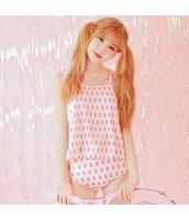 ビキニ 三角ビキニ ビーチタンクトップセット ハイウエストボックスショーツ パイナップル柄 ピンク色 qd17030-1