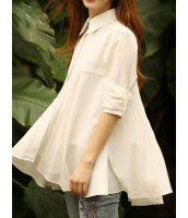 シャツ ブラウス 七分袖裾フレア不規則 無地大きいサイズあり-rg0289