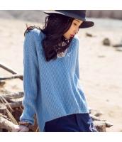 ガーベラレディース Vネック 刺繍 ハイロー ドロップショルダー ニットウェア セーター rp10020-2