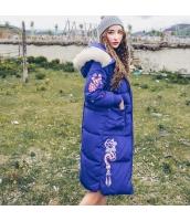 ガーベラレディース フード付き 刺繍 ダウンコート ミディアム丈 rp10069-1
