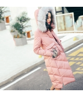 ガーベラレディース フード付き 刺繍 長袖 着やせ ダウンコート ミディアム丈 rp10072-1