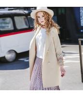 ガーベラレディース スタンドカラー 刺繍 ウール フリースコート ピーコート ミディアム丈 rp10075-1