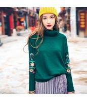 ガーベラレディース タートルネック 刺繍 ゆったり ニットウェア セーター rp10099-1