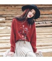 ガーベラレディース ハイネック 刺繍 ゆったり ニットウェア セーター rp10101-1