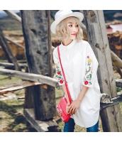 ガーベラレディース 刺繍 ドロップショルダー コーデアイテム シャツ チュニック 七分袖 rp10137-1