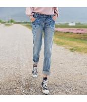 ガーベラレディース 刺繍 ストレート 純綿 デニム ジーンズ サブリナパンツ rp10176-1