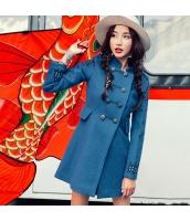 ガーベラレディース スタンドカラー 刺繍 レトロ調 ウール フリースコート ミディアム丈コート rp10366-1