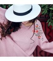 ガーベラレディース Vネック 刺繍 プルオーバー コーデアイテム 着やせ ゆったり ニットウェア セーター 長袖 rp10378-1