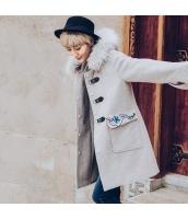 ガーベラレディース ファー襟 フード付き 刺繍 フリースコート ダッフルコート ミディアム丈コート rp10422-2