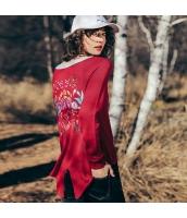 ガーベラレディース エスニック調 刺繍 ミディアム丈 スリット入り ニットウェア セーター 長袖 rp10460-1