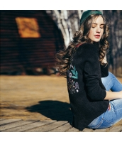ガーベラレディース エスニック調 刺繍 ミディアム丈 スリット入り ニットウェア セーター 長袖 rp10460-2