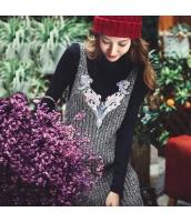 ガーベラレディース Vネック 刺繍 着やせ ワンピース オーバーオール ジャンパースカート rp10492-1