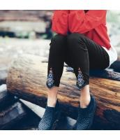 ガーベラレディース ゴムウエスト 刺繍 九分丈 裏起毛 カジュアル スキニーパンツ rp10520-2