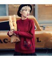 ガーベラレディース 丸首 刺繍 ゆったり ニットウェア セーター 長袖 rp10536-2