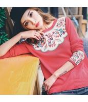ガーベラレディース ニット・セーター セーター 長袖 ワッペン刺繍 rp11042-1