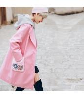ガーベラレディース フリースコート ミディアムコート ワッペン刺繍 フード付き rp11171-1