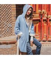 ガーベラレディース フリースコート ミディアムコート 刺繍入り フード付き rp11342-1
