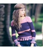 ガーベラレディース ニットウェア セーター 七分袖 ボーダー柄 フリンジ入り ワイド袖 春物 rp11729-1