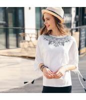 ガーベラレディース Tシャツ カットソー 七分袖 ゆったり 刺繍入り 春物 rp11861-1