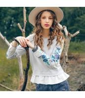 ガーベラレディース Tシャツ カットソー 長袖 重ね着風 刺繍入り 春物 rp11879-1