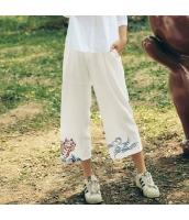 ガーベラレディース ワイドパンツ ゆったり 刺繍入り 春物 rp11958-1