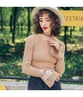 ガーベラレディース ニット・セーター セーター 長袖 刺繍入り ワイド袖 春物 rp12024-1