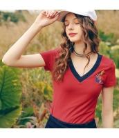 ガーベラレディース Tシャツ カットソー 半袖 Vネック 刺繍入り 夏物 rp12055-1