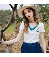 ガーベラレディース Tシャツ カットソー 半袖 Vネック 刺繍入り 夏物 rp12055-2