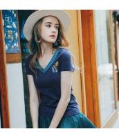 ガーベラレディース Tシャツ カットソー 半袖 Vネック 刺繍入り 夏物 rp12055-3