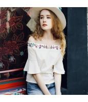 ガーベラレディース Tシャツ カットソー ベアトップ ワイド袖 刺繍入り 春物 rp12060-1