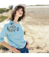 ガーベラレディース Tシャツ カットソー 七分袖 ゆったり 刺繍入り 春物 rp12062-1