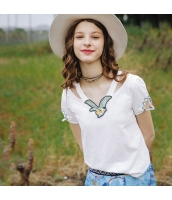 ガーベラレディース Tシャツ カットソー 半袖 Vネック 袖口ホロー 刺繍入り 夏物 rp12064-1