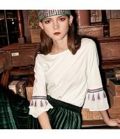 ガーベラレディース Tシャツ カットソー 七分袖 ワイド袖 刺繍入り 春物 rp12071-1
